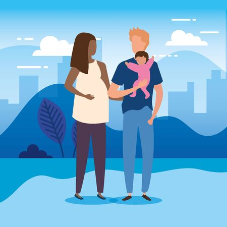 parents with baby girl in park nature characters vector illustration design