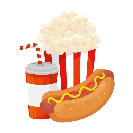 delicious hot dog with drink and popcorn fast food icon vector illustration design 스톡 콘텐츠 - 139727560