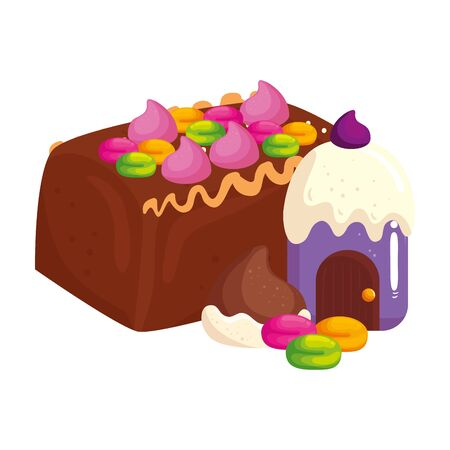 delicious cake chocolate with cupcake and candies vector illustration design