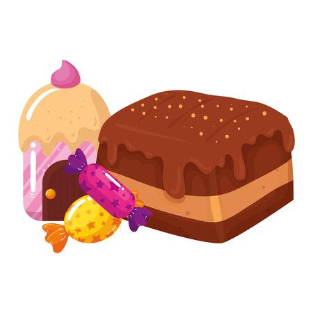 brownie chocolate with home cupcake and candies vector illustration design
