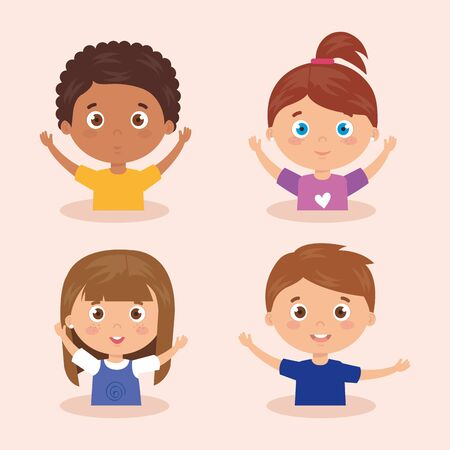 set of children smiling with his hands up vector illustration design Vectores