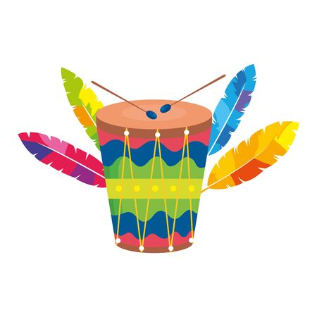 drum instrument musical with exotic feathers vector illustration design