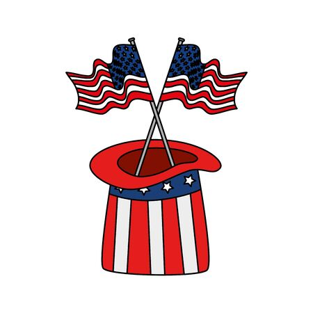 Usa hat and flags design, United states america independence labor day nation us country and national theme Vector illustration