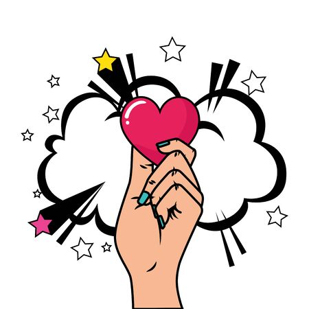 hand with heart and cloud pop art style vector illustration design