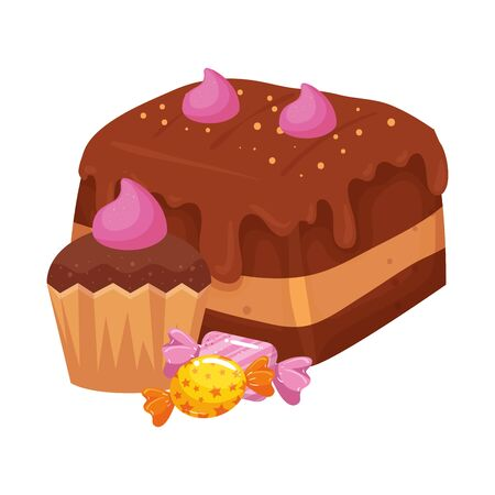 cake chocolate with cupcake and candies vector illustration design