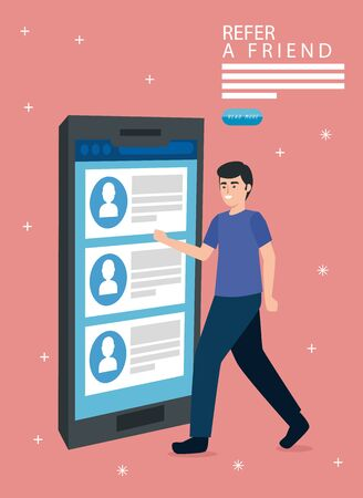 refer a friend with man and smartphone vector illustration design