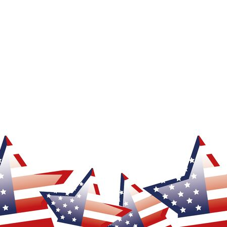 set of united states flags in shape stars vector illustration design