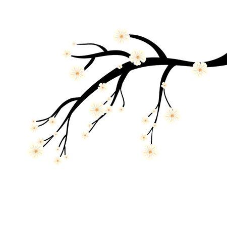 tree branch plant with flowers vector illustration design Illustration