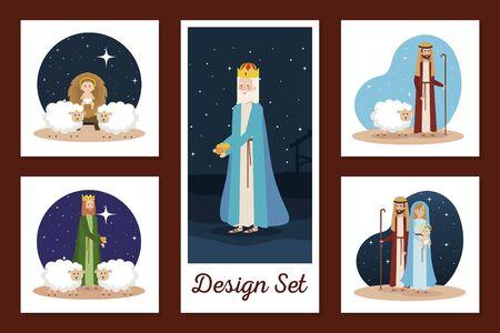 designs set of manger characters vector illustration design  イラスト・ベクター素材