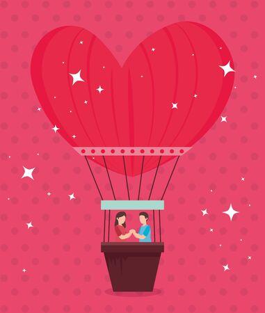 couple in balloons air hot romantic travel vector illustration design