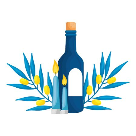 bottle of wine with branches and candles isolated icon vector illustration design Ilustração