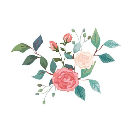 cute roses with branches and leafs isolated icon vector illustration design  イラスト・ベクター素材