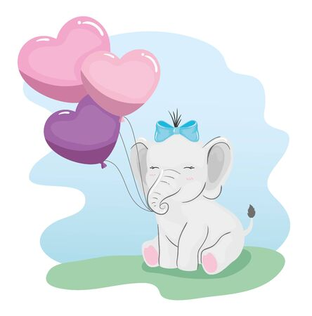 cute elephant with balloons helium in shape heart vector illustration design