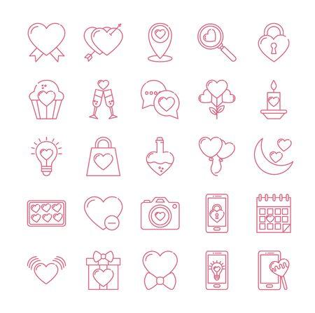 Icon set design of love passion romantic valentines day wedding decoration and marriage theme Vector illustration Ilustração