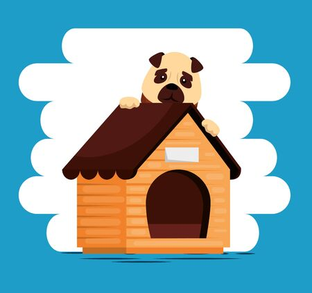 little dog with wooden house vector illustration design