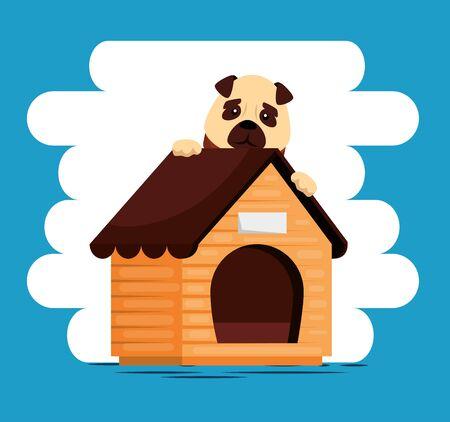 little dog with wooden house vector illustration design