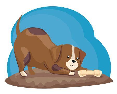 cute little dog animal with bone vector illustration design Illusztráció