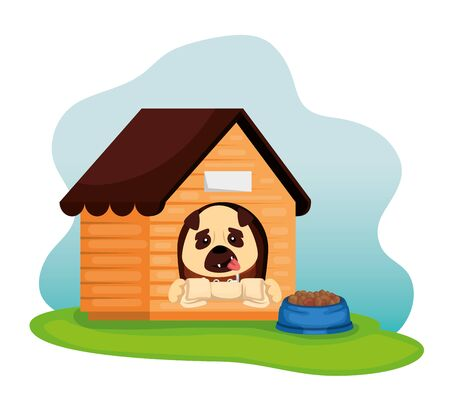 little dog with wooden house and dish food vector illustration design 일러스트