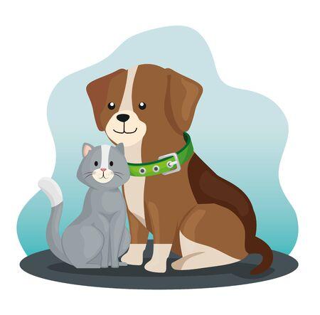 little dog and cat animals vector illustration design
