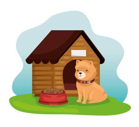 little dog with wooden house and dish food vector illustration design Illusztráció