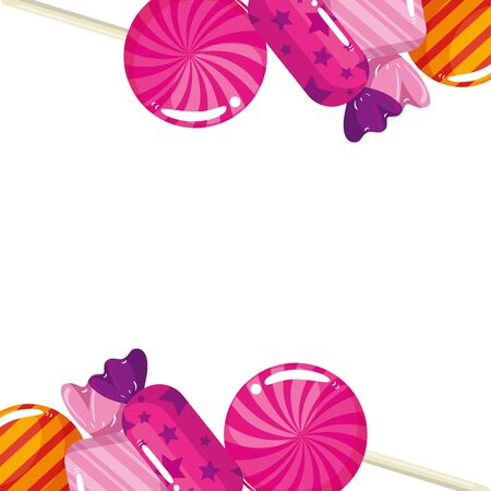 frame of delicious candies decoration vector illustration design