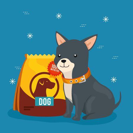 cute little dog with animal bag food vector illustration design