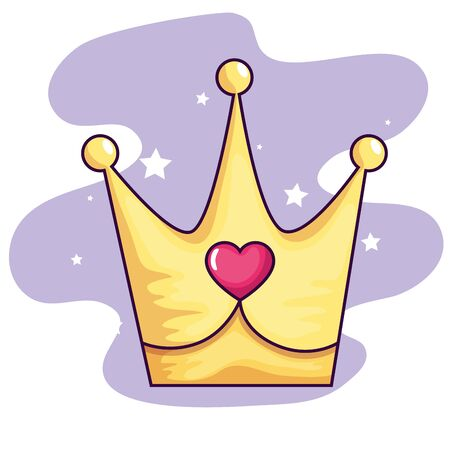 cute crown with heart and stars decoration vector illustration design 向量圖像