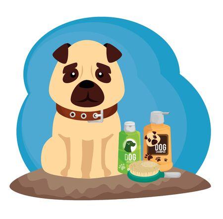 little dog with cleaning icons vector illustration design Illusztráció