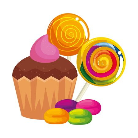 delicious cupcake with candies isolated icon vector illustration design  イラスト・ベクター素材