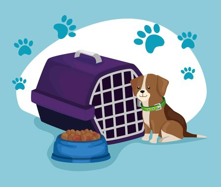 little dog with box transport and dish food animal vector illustration design 일러스트