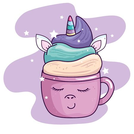 cute cup unicorn with stars decoration kawaii style vector illustration design