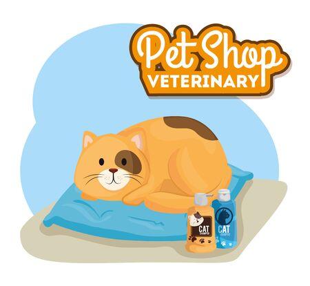 pet shop veterinary with little cat vector illustration design Vettoriali