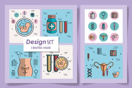 six designs of pregnancy set icons vector illustration design Ilustracja