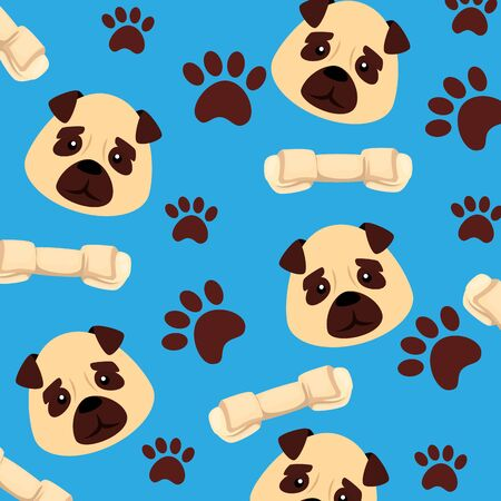 background of face dogs with bones and paw prints vector illustration design  イラスト・ベクター素材