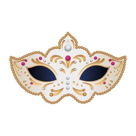 Elegante máscara de fantasía, diseño de ilustraciones vectoriales icono aislado