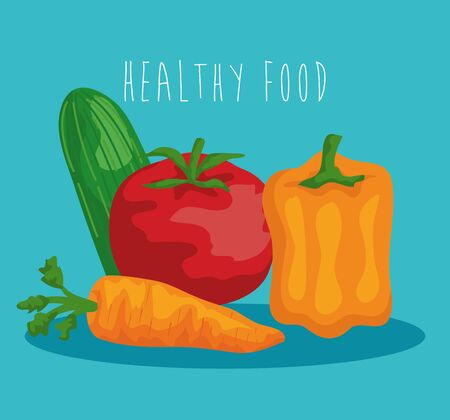 fresh tomato with cucumber and pepper with carrot to healthy food vector illustration