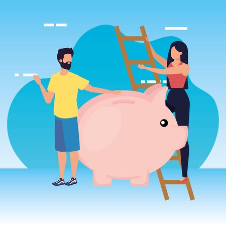 young couple with piggy savings and stairs vector illustration design