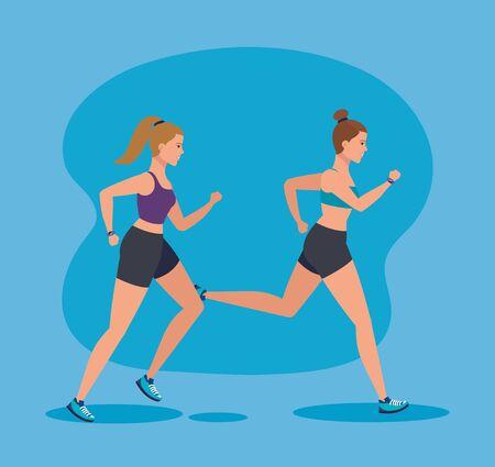 women running to sport practice activity over blue background, vector illustration