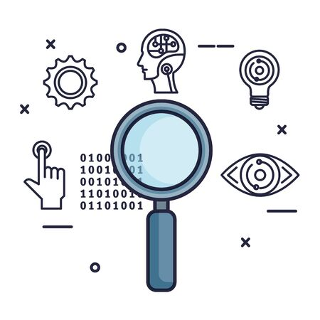 magnifying glass with set tech icons vector illustration design