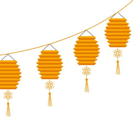 chinese set decorative lamps hanging icon vector illustration design