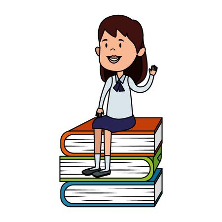 happy student girl seated in pile text books vector illustration design