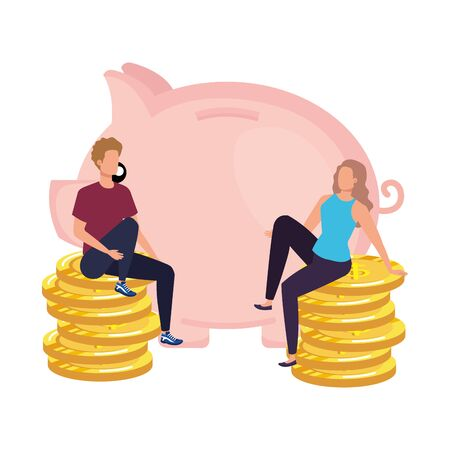 young couple with piggy and coins vector illustration design