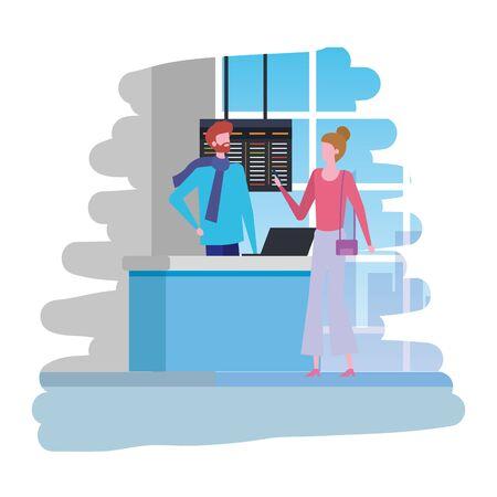 L'homme travaillant à l'aéroport avec femme traveler scene design illustration vectorielle