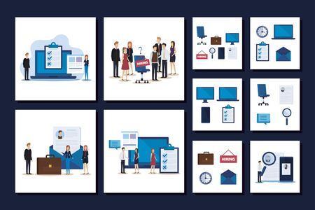 set scenes people working in hiring and set icons vector illustration design