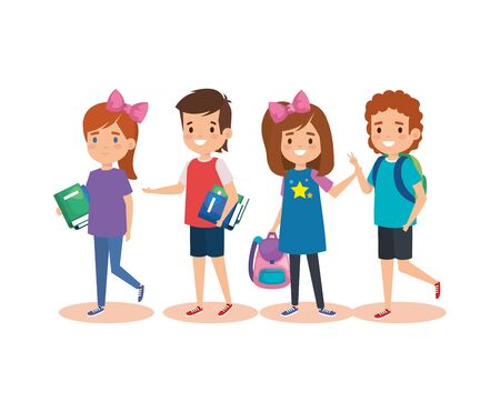 girls and boys studentes with books and backpack over white background vector illustration Ilustração