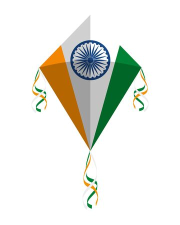 kite flying with indian flag country vector illustration design