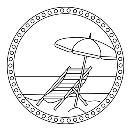 circular frame with summer beach and umbrella and chair vector illustration