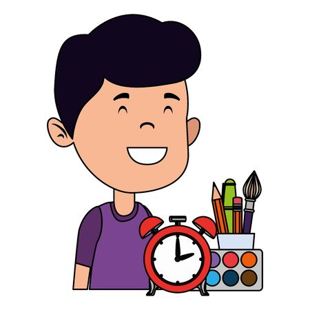happy student boy with alarm clock and supplies vector illustration design Illustration