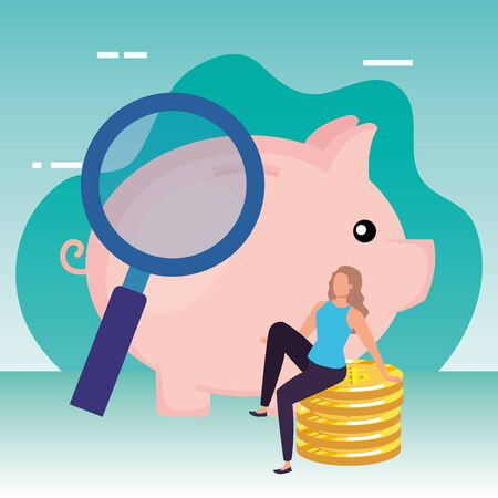 young woman with piggy and coins vector illustration design