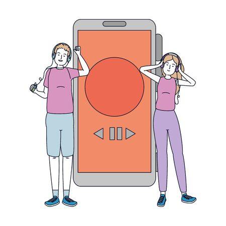 young couple friends listen music with smartphone vector illustration design